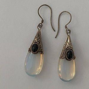 Jewelry - Silver moonstone drop dangle hanging earrings